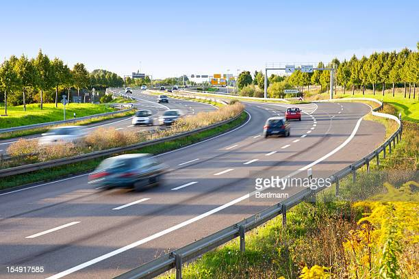 Motion blur of traffic on multilane highway