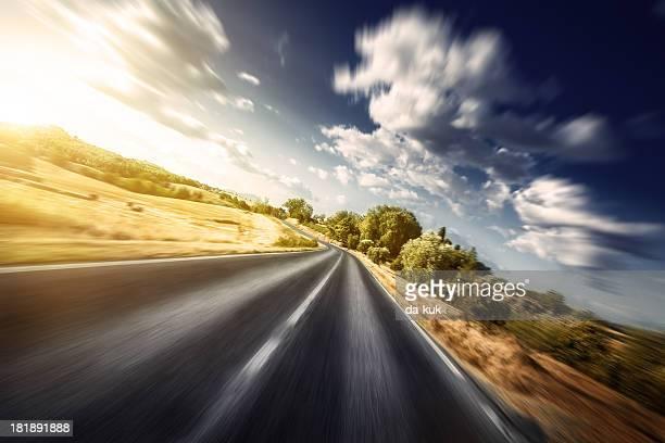 Motion blurred asphalt road