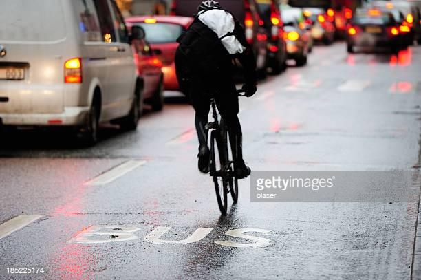 Motion blurred bike in bus lane