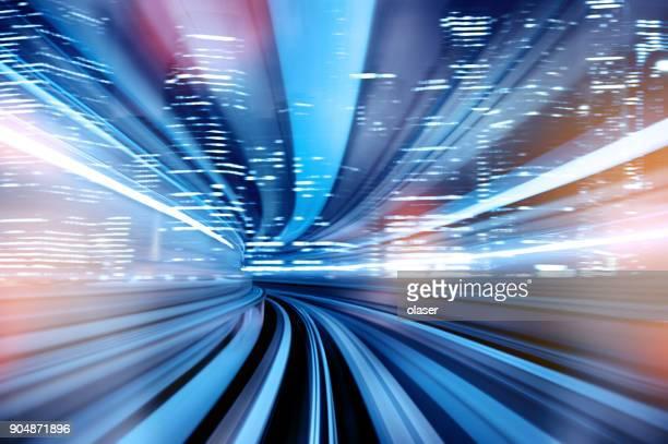 motion blurred over ground subway train