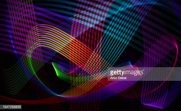 motion colorful light trails with color surge effect. - lineart stock-fotos und bilder