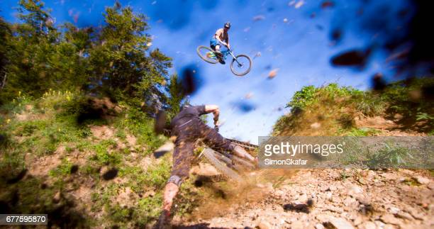 Motion of mountain bikers performing stunts