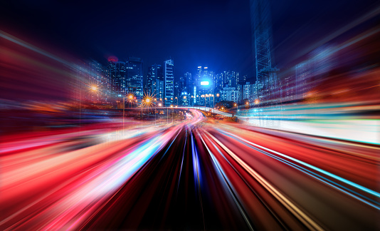 Motion Speed Light Tail with Night City Background 852010454