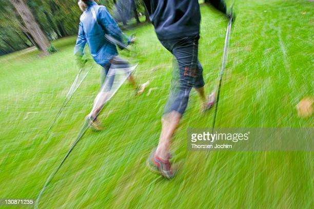 motion studie of two nordic walker with sticks and sportive clothing walking on a green meadow in the english garden in munich - meadow walker stock pictures, royalty-free photos & images