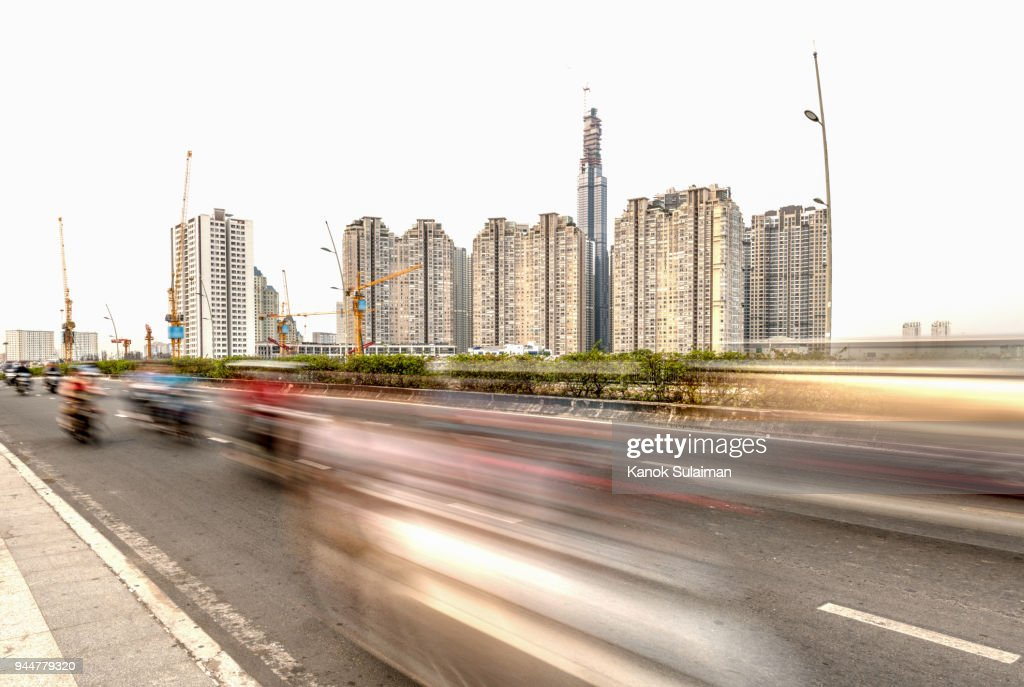 Motion view of street in Vietnam : Stock Photo