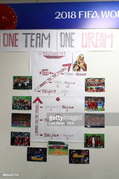 A motivational message is seen inside the Belgium dressing room prior to the 2018 FIFA World Cup Russia Semi Final match between Belgium and France...
