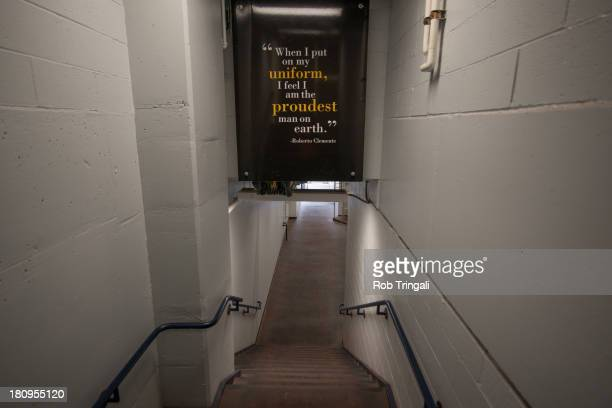 Motivational sign with a quote from legendary Pirate Roberto Clemente in the walkway at PNC park before a game between the Pittsburgh Pirates and the...