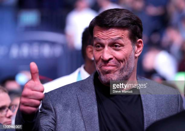 Motivational speaker and author Tony Robbins arrives to watch the Conor McGregor and Donald Cerrone fight during UFC246 at T-Mobile Arena on January...