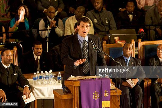Motivational speaker Anthony Robbins speaking at the funeral services for Stanley 'Tookie' Williams at Bethel AME Church in South Central Los Angeles...