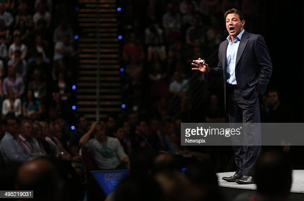 Motivational speaker Jordan Belfort speaks on 'The Art of Prospecting' at a real estate agents' conference at the Gold Coast Convention Centre on...