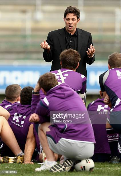 Motivational speaker Jordan Belfort speaks to the players during a Melbourne Storm NRL training session at Visy Park on September 23 2009 in...