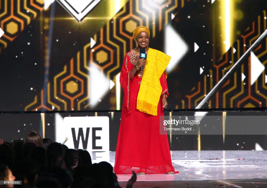 Motivational speaker Mpumi Nobiva speaks onstage at WE Day California to celebrate young people changing the world at The Forum on April 27, 2017 in Inglewood, California.