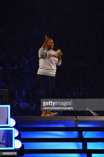 Motivational Speaker Toni Morgan speaks during WE Day Toronto at the Air Canada Centre on October 1 2015 in Toronto Canada