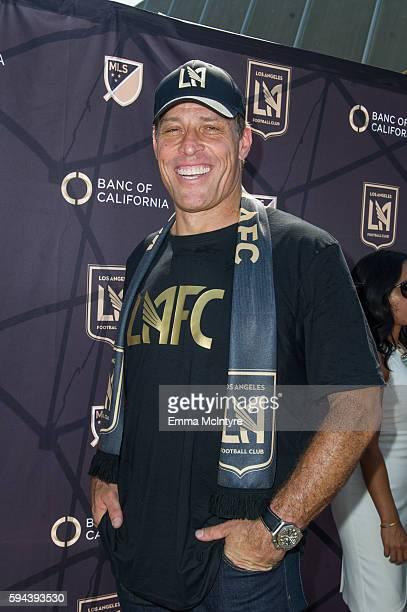 Motivational speaker Tony Robbins attends the Los Angeles Football Club stadium groundbreaking ceremony on August 23 2016 in Los Angeles California