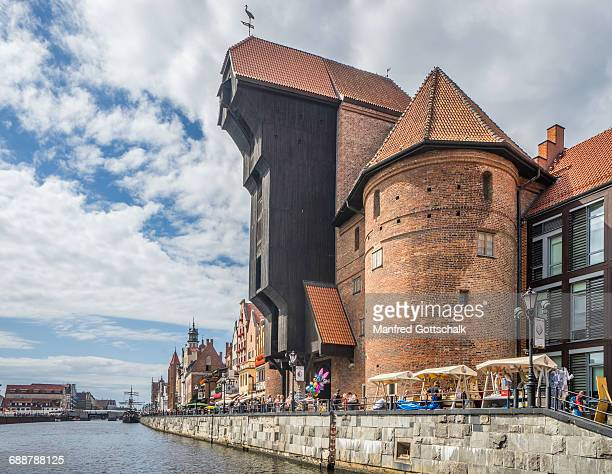 motlawa and krantor (port crane) gdansk - motlawa river stock pictures, royalty-free photos & images