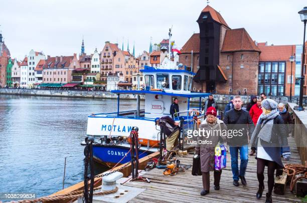 motlawa ferry and medieval crane - motlawa river stock pictures, royalty-free photos & images