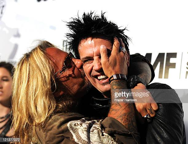Motley Crue band members Vince Neil and Tommy Lee arrive at the Annual Sunset Strip Music Festival Tribute to Motley Crue at the House of Blues...