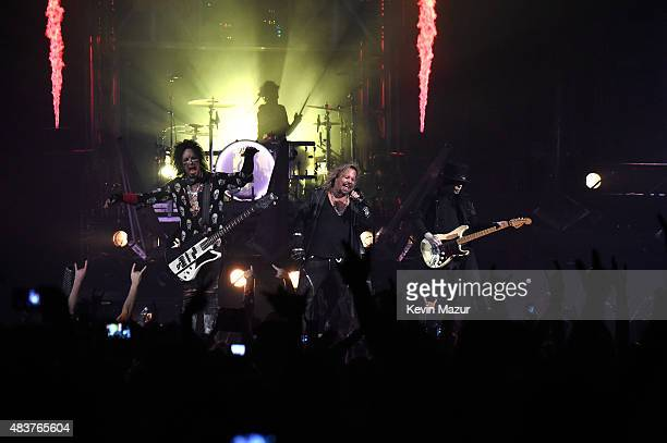 Motley Crue perform onstage during their Motley Crue The Final Tour 'All Good Things Must Come To An End' at Barclays Center of Brooklyn on August 12...