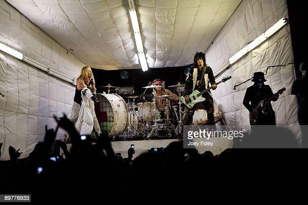 Motley Crue performs during Crue Fest 2 at the Verizon Wireless Music Center on August 12 2009 in Noblesville Indiana