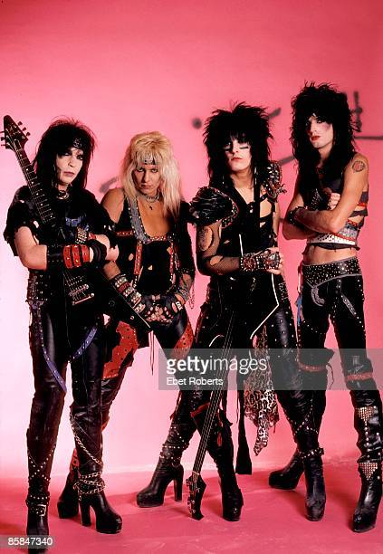 Photo of Mick MARS and MOTLEY CRUE and Tommy LEE and Nikki SIXX and Vince NEIL Posed group shot studio full length all standing L R Mick Mars Vince...
