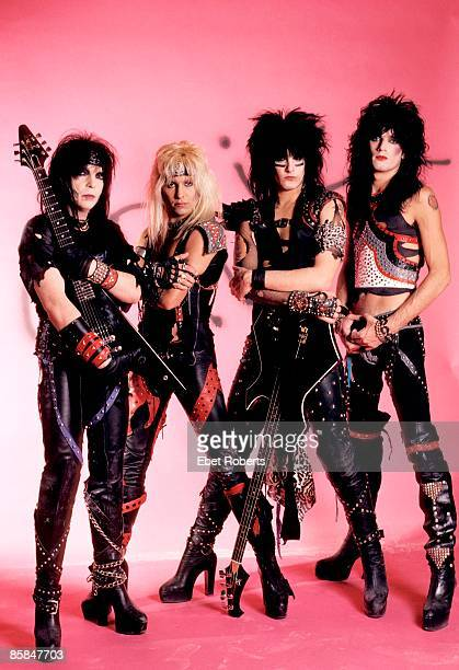 Photo of Vince NEIL and MOTLEY CRUE and Tommy LEE and Nikki SIXX and Mick MARS Posed group shot stduio L R Mick Mars Vince Neil Nikki Sixx Tommy Lee