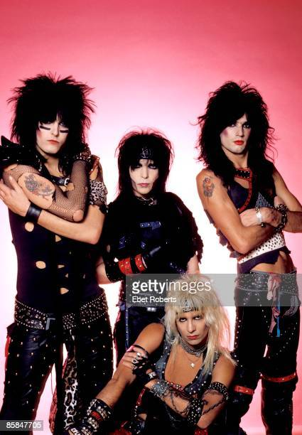 Photo of Vince NEIL and MOTLEY CRUE and Tommy LEE and Nikki SIXX and Mick MARS Posed group shot studio L R Nikki Sixx Mick Mars Vince Neil Tommy Lee