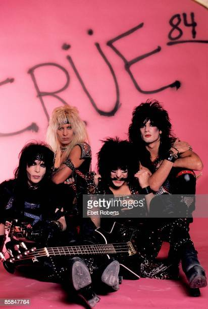 Photo of Vince NEIL and MOTLEY CRUE and Tommy LEE and Nikki SIXX and Mick MARS Posed group shot studio L R Mick Mars Vince Neil Nikki Sixx Tommy Lee