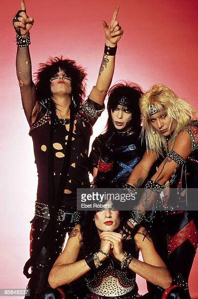 Photo of Mick MARS and Nikki SIXX and Tommy LEE and MOTLEY CRUE and Vince NEIL Posed group shot studio Clockwise from top left Nikki Sixx Mick Mars...