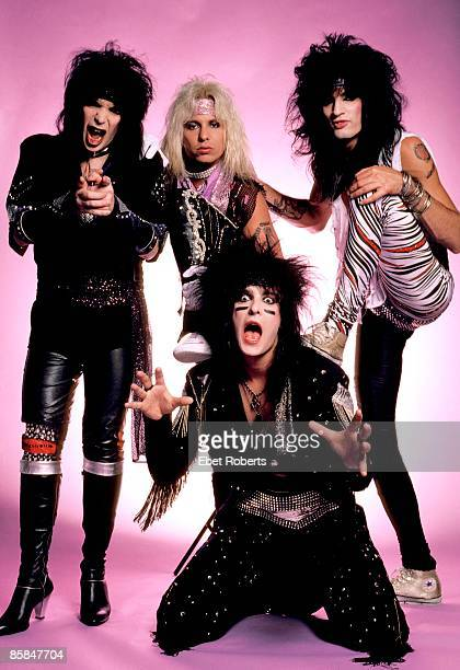 Motley Crue photographed backstage at the New Haven Coliseum in New Haven Connecticut on August 2 1985 L R Mick Mars Vince Neil Nikki Sixx and Tommy...