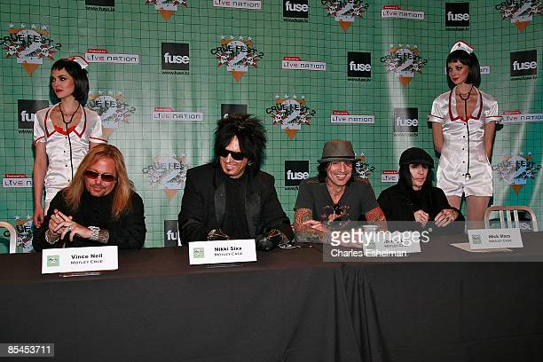 Motley Crue' Vince Neil Nikki Sixx Tommy Lee and Mick Mars with naughty nurses attend a press conference held by Motley Crue to announce Crue Fest 2...