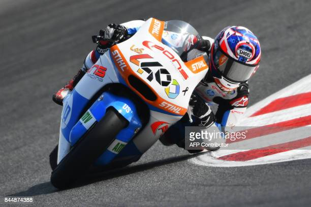 Moto 2 Pons team's French rider Fabio Quartararo rides his bike during a free practice session for the San Marino Moto GP Grand Prix race at the...