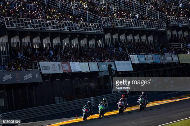 Moto 3 leading group of Andrea Migno Joan Mir Fabio Di Giannantonio and Enea Bastianini start during the race of Moto 3 Gran Premio Motul de la...