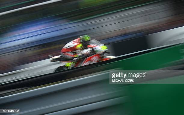 TOPSHOT Moto GP rider Cal Crutchlow of Great Britain competes during the MotoGP competition of Grand Prix of Czech Republic at Masaryk Circuit on...
