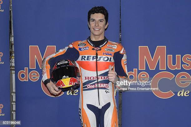 Moto GP rider Marc Marquez's wax figure is displayed at Wax Museum on April 21 2016 in Madrid Spain