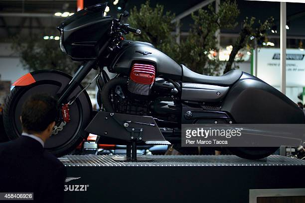 Moto Guzzi motorbike is displayed during the EICMA 72th International Motorcycle Exhibition on November 4 2014 in Milan Italy