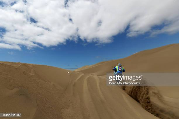 Moto Racing Group No 38 Motorbike ridden by Milan Engel of Czech Republic competes in the desert on the sand during Stage Six of the 2019 Dakar Rally...