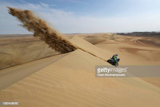 Moto Racing Group No. 38 Motorbike ridden by Milan Engel of Czech Republic competes in the sand, desert and dunes during Stage Nine of the 2019 Dakar...