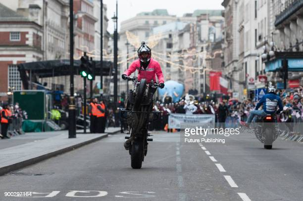 Moto Stunts International take part in London's New Year's Day Parade 2018 Around 500000 spectators gather along the parade route to watch more than...