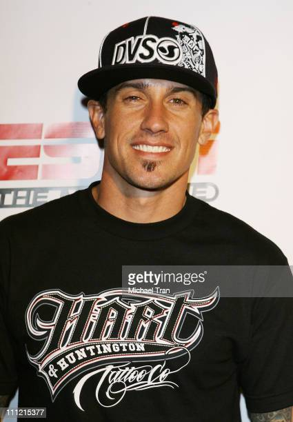 Moto X rider Carey Hart arrives at the Disturbia DVD release party at The Standard Hotel on August 2 2007 in Los Angeles California