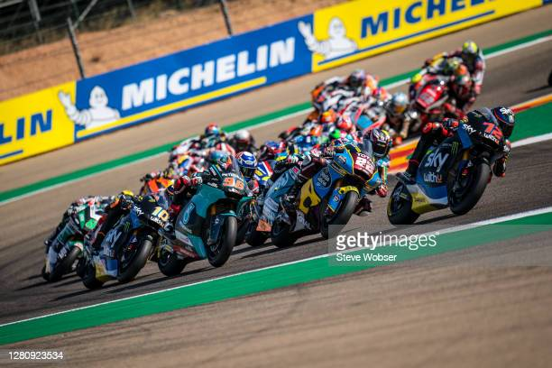 Moto2 field after race start during the MotoGP of Aragon at Motorland Aragon Circuit on October 18, 2020 in Alcaniz, Spain.