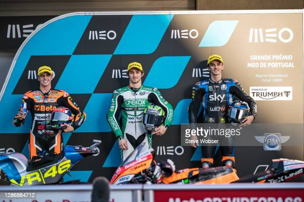Moto2 parc ferme with Moto2 rider Remy Gardner of Australia and Onexox TKKR SAG Team , Moto2 rider Luca Marini of Italy and SKY Racing Team VR46 and...