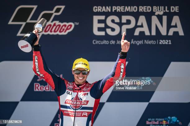 Moto2 race winner Fabio Di Giannantonio of Italy and Federal Oil Gresini Moto2 on the podium with his trophy after his first Moto2 win during the...