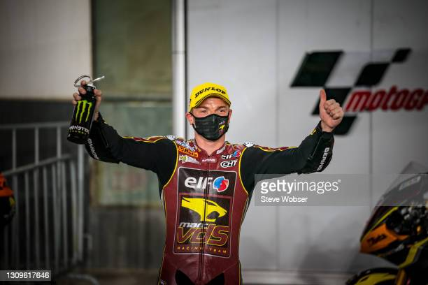 Moto2 race winner Moto2 rider Sam Lowes of Great Britain and Elf Marc VDS Racing Team at the parc ferme at Losail Circuit on March 28, 2021 in Doha,...