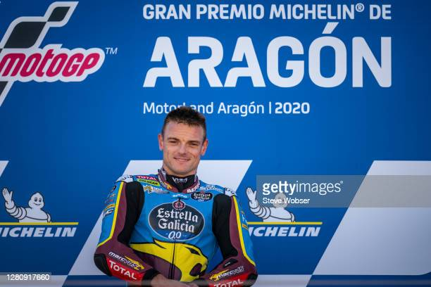 Moto2 race winner Sam Lowes of Great Britain and EG 0,0 Marc VDS at the podium during the MotoGP of Aragon at Motorland Aragon Circuit on October 18,...