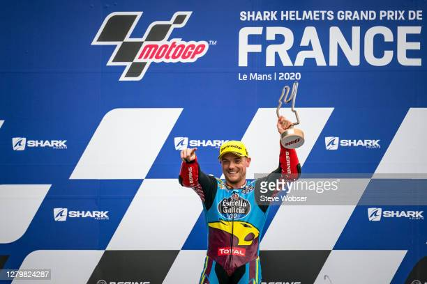 Moto2 race winner Sam Lowes of Great Britain and EG 0,0 Marc VDS shows his trophy at the podium during the MotoGP of France at Bugatti Circuit on...