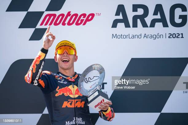 Moto2 rider Raul Fernandez of Spain and Red Bull KTM Ajo celebrates with his trophy on the podium during the race of the MotoGP Gran Premio TISSOT de...