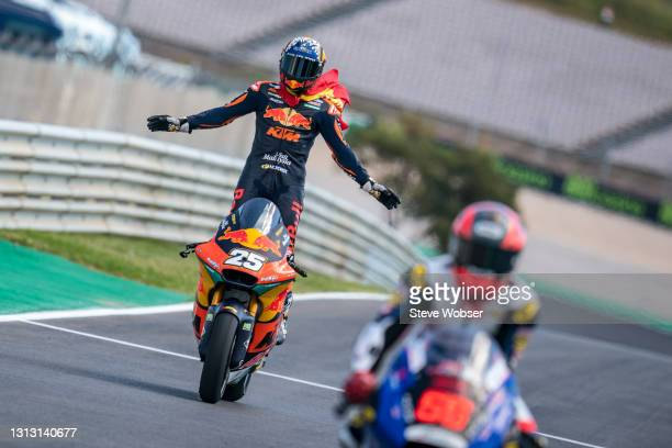 Moto2 rider Raul Fernandez of Spain and Red Bull KTM Ajo rolls into parc ferme after his win at Autodromo Internacional Do Algarve on April 18, 2021...
