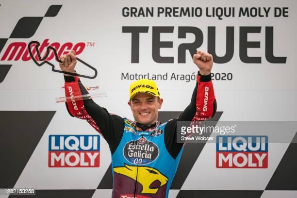 Moto2 rider Sam Lowes of Great Britain and EG 0,0 Marc VDS celebrates his Moto2 win on the podium during the MotoGP of Teruel at Motorland Aragon...