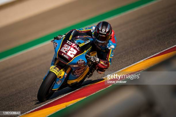 Moto2 rider Sam Lowes of Great Britain and EG 0,0 Marc VDS rides during the qualifying for the MotoGP of Teruel at Motorland Aragon Circuit on...