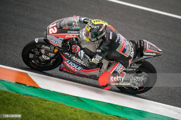 Moto2 rider Thomas Luethi of Switzerland and Liqui Moly Intact GP rides during the free practice for the MotoGP of Europe at Comunitat Valenciana...